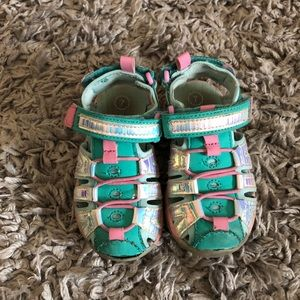 Toddler Girls Size 7 pink teal and silver sandals